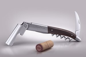 Wine knife and wine cork mock-up
