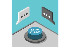 Isometric live chat button