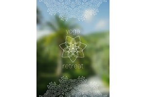 Yoga retreat banner with mandala