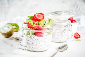Healthy breakfast with chia seeds