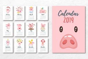 2019 calendar with cartoon pigs