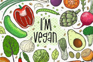 I'm vegan.Vegetable illustration set