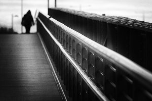 Bridge in black and white silhouette