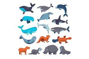 Sea mammal vector water animal