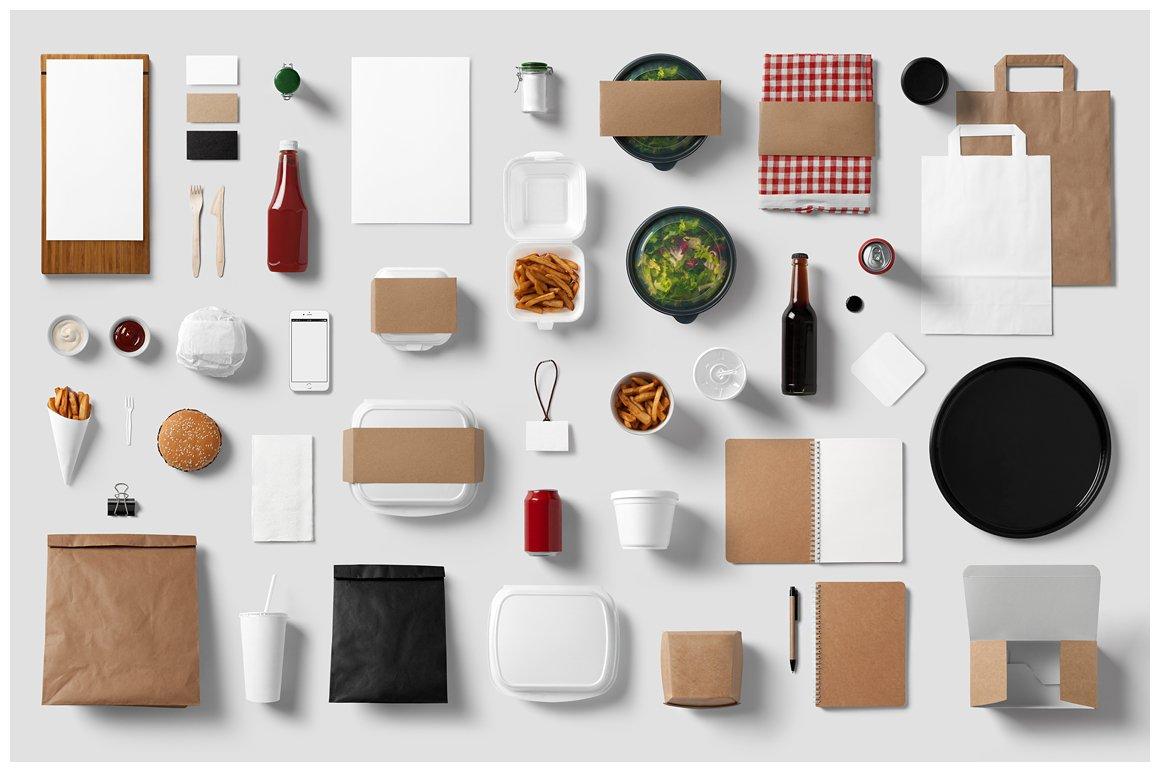 Burger bar stationery mock up product mockups creative for Food bar mockup
