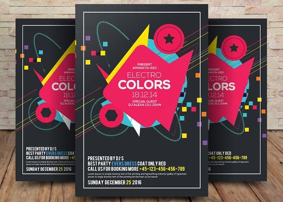 electro colors club flyer flyer templates creative daddy