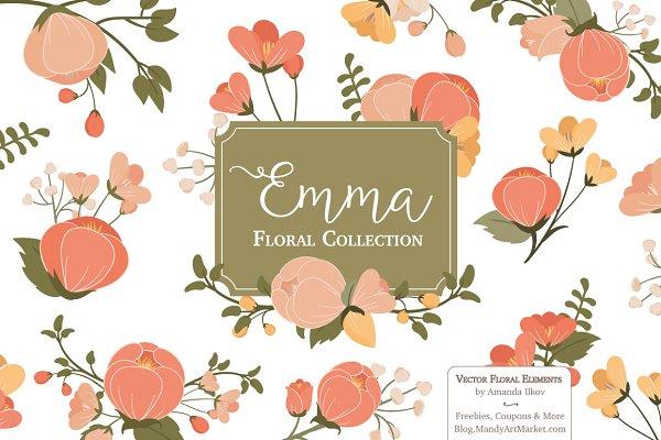 Peach Floral Vectors & Clipart