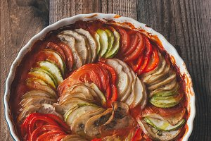 Dish of ratatouille