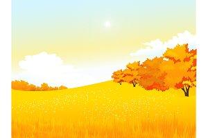 Vector autumn rural landscape with