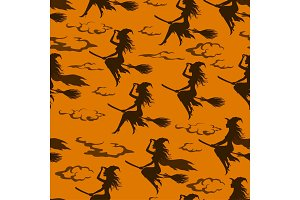 Halloween Witch, Seamless Pattern