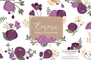 Plum Floral Clipart & Vectors