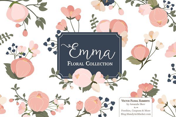 Navy & Pink Floral Clipart & Vector…