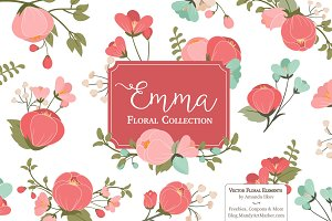 Mint & Coral Flowers Clipart