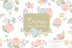 Pastel Flowers Clipart & Vectors