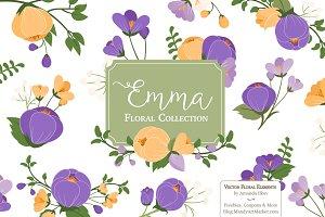 Purple Crocus Floral Clipart