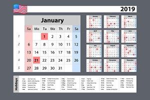 vector Simple calendar 2019
