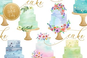 Watercolor Layered Cake Clipart