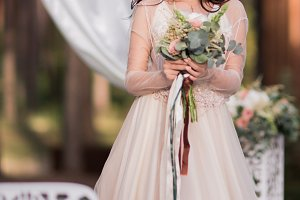 Stunning bride in a beige dress