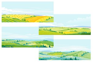 Farming Fields Landscape Set