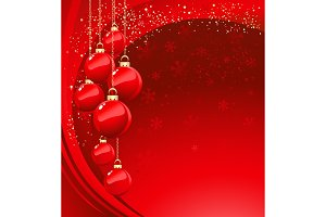 Merry Christmas  card with red baubl