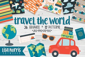 Travel the World Clip Art & Patterns