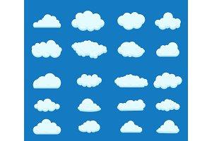 Set of blue sky, clouds.