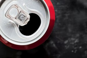 Cold cola can close up