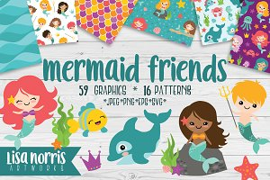 Mermaid Friends Clip Art & Patterns