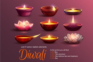 Diwali Candles Set