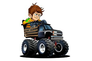Cartoon Monster Truck with driver