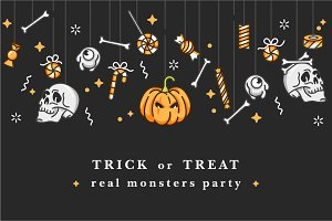 Halloween background and invitations