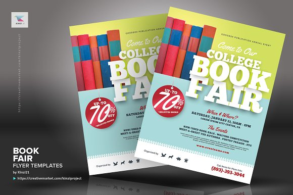book fair flyer templates flyer templates creative market