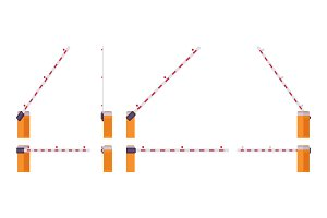 Automatic boom barrier gate set
