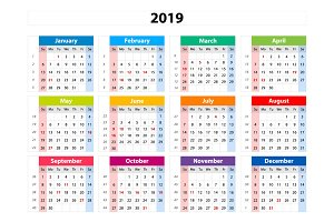 vector calendar 2019 starts sunday