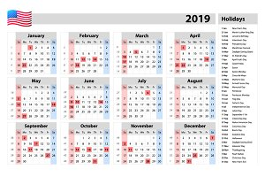 vector Simple calendar 2019 USA