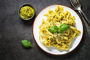 Tagliatelle pasta with pesto sauce