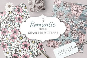 Romantic floral seamless patterns