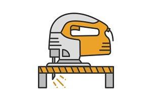 Electric jigsaw cutting plank icon