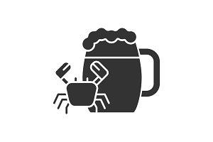 Beer mug with crab glyph icon
