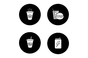 Foods glyph icons set