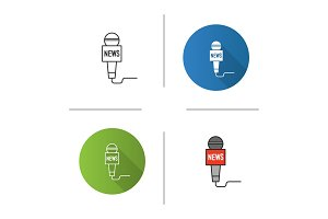 Microphone broadcasting news icon