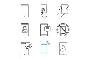Phone communication linear icons set