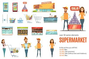 Supermarket Cartoon Set