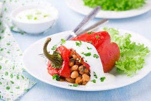 White beans stuffed red pepper