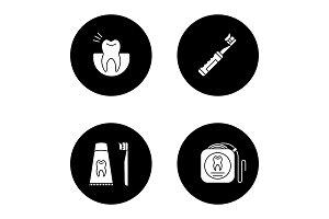 Dentistry glyph icons set