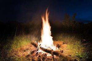 Big fire in orange bonfire