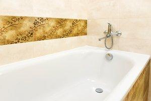 Close up of white bathtub