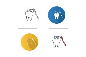 Correct teeth brushing icon