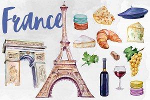 Watercolor France Clipart Set