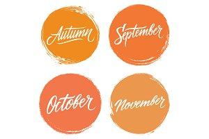 Autumn months hand lettering set